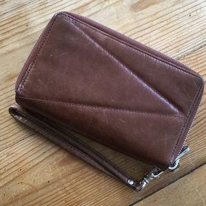 Hobo Brown Leather Zip Around Wallet Wristlet